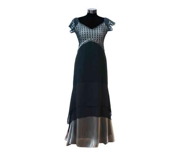 שמלת ערב טורקיז שחור וברונזה