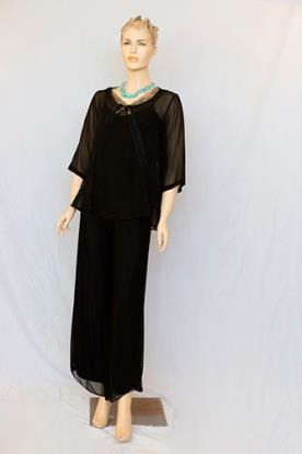שמלת ערב צנועה שיפון שחור