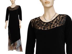 שמלת ערב צנועה שיפון מודפס