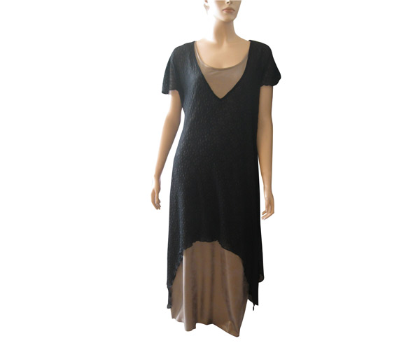 שמלת ערב צנועה שחור וחום