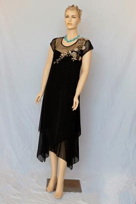 שמלת ערב צנועה אפליקציית זהב