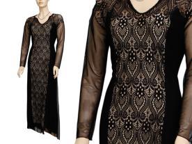 שמלת ערב צנועה תחרה שחורה