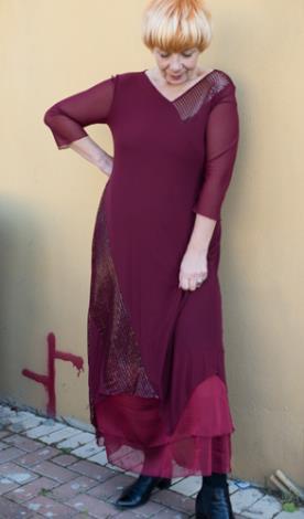 שמלת ערב צנועה בורדו
