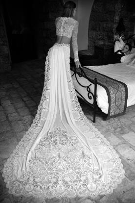 שמלת כלה שני חלקים ושובל