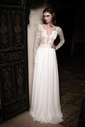 שמלת כלה חצאית משי כיווצים