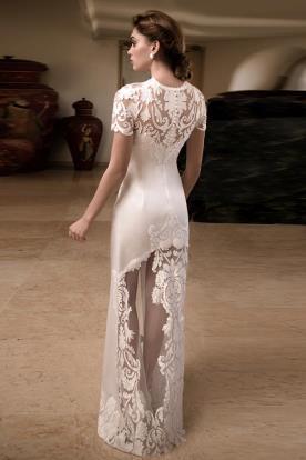 שמלת כלה שרוולי תחרה קצרים