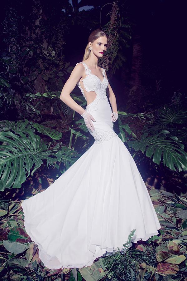 שמלת כלה משי לבן נשפך