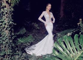 שמלת כלה עדינה תחרה לבנה
