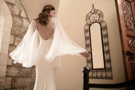 שמלת כלה שרוולי שיפון אוורירייים