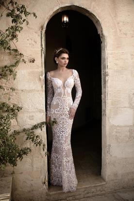 שמלת כלה שרוולים ארוכים מקסי