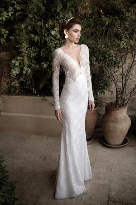 שמלת כלה לבנה תחרת מניפות
