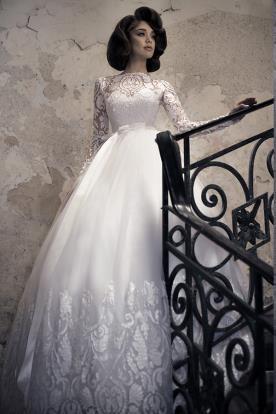 שמלת כלה צנועה טופ תחרה