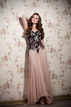 שמלת ערב עם חצאית ורודה משיפון