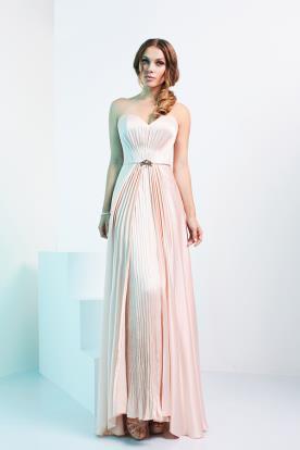 שמלת ערב פליסה ומשי ורוד
