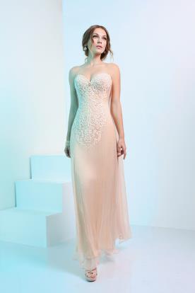 שמלת ערב בצבע שמנת עם תחרה