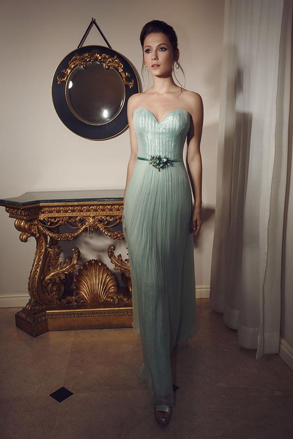 שמלת ערב משיפון בצבע טורקיז נוצץ