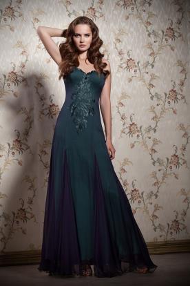 שמלת ערב ירוקה רקומה