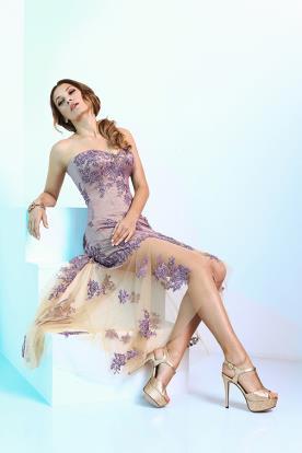 שמלת ערב מיני בצבע סגול
