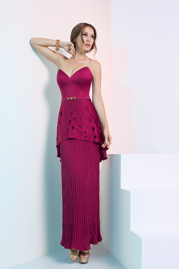 שמלת ערב פפלום עם פליסה