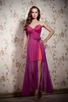 שמלת ערב מיני עם חצאית ארוכה ושקופה