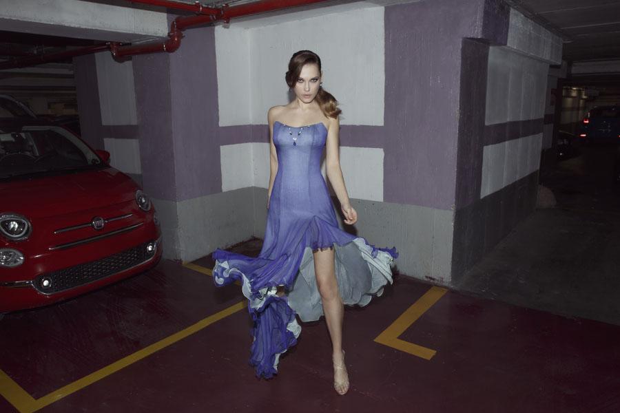 שמלת ערב סגולה עם בטנה לבנה