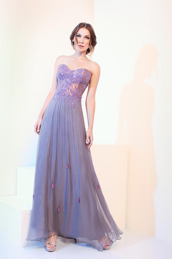 שמלת ערב סגולה עם מחוך