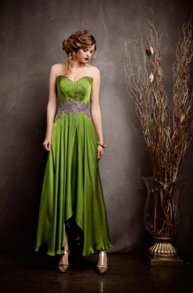 שמלת ערב מסאטן ירוק