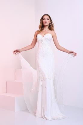 שמלת כלה מבדי אורגנזה ושיפון