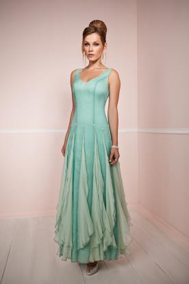 שמלת ערב משיפון בצבעי תכלת וטרוקיז