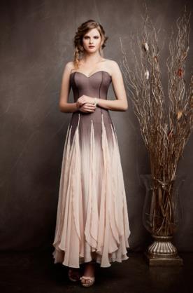 שמלת ערב סטרפלס בשילוב אפור וורוד