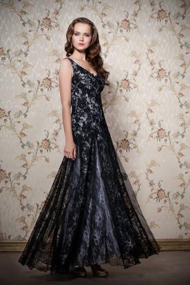 שמלת ערב מקסי מתחרה שחורה