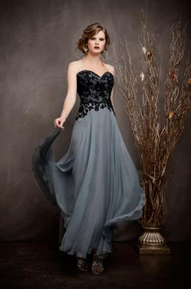 שמלת ערב בשילוב שחור ואפור