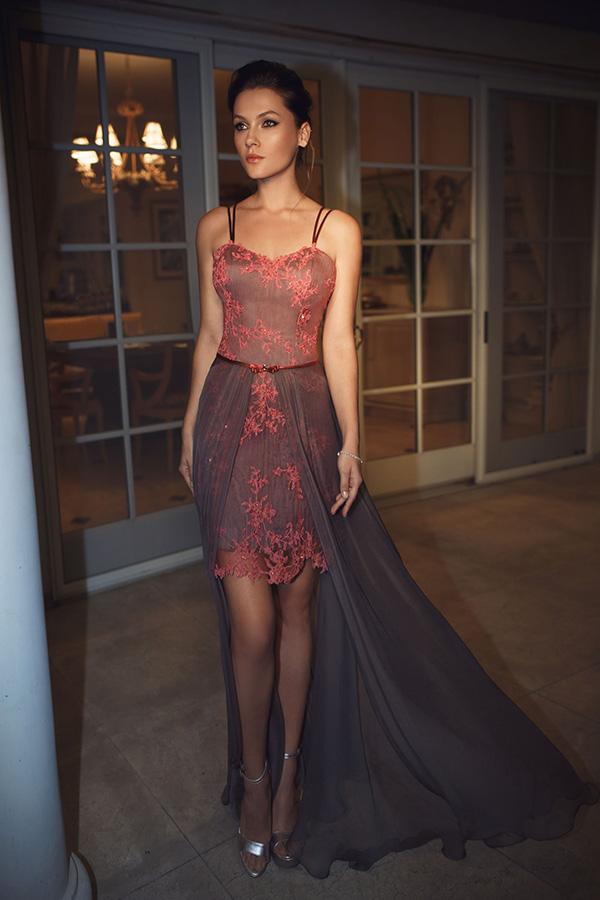 שמלת ערב מיני עם שובל