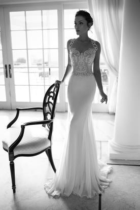שמלת כלה עם כתפיות תחרה עבות