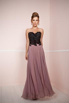 שמלת ערב בצבעי שחור - סגול