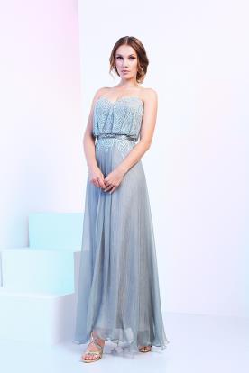 שמלת ערב תכלת רקומה עם חרוזים