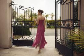 שמלת ערב משיפון בצבע ורוד כהה