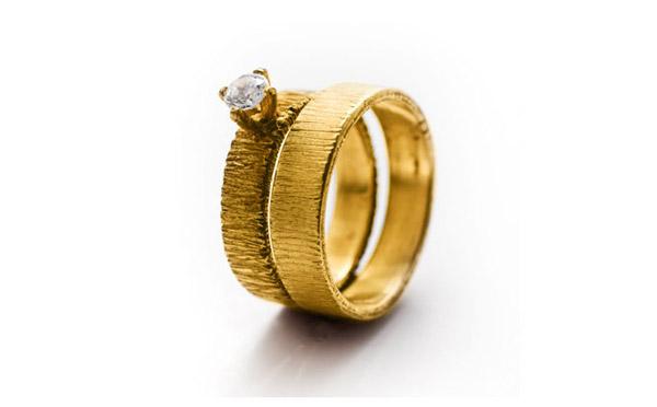 סט שתי טבעות אירוסין זהב