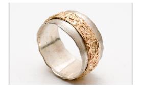 טבעת משולבת זהב אדום ולבן
