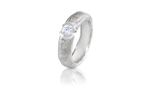 טבעת אירוסין כסף מחוספסת