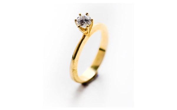 טבעת זהב סוליטייר מודרנית