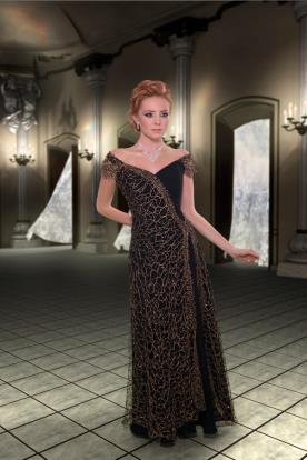 שמלת ערב אלגנטית מעטפת חרוזים
