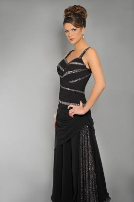 שמלת ערב קלאסית עם פסי כסף