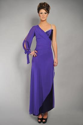 שמלת ערב סגולה שרוול אחד