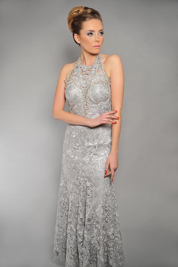 שמלת ערב כסופה קולר עשירה
