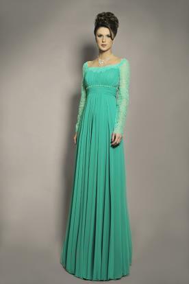 שמלת ערב צנועה טורקיז כיווצים