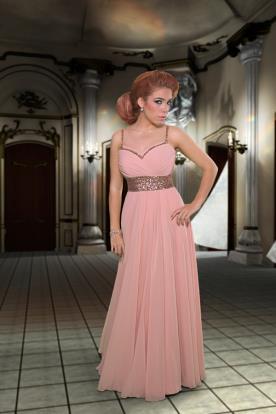 שמלת ערב ורודה נשפכת עם חגורה