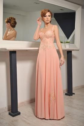 שמלת ערב קלאסית מחשוף לב מקסי