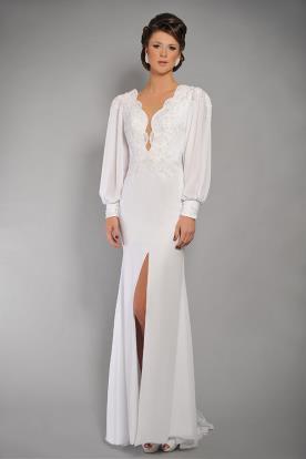 שמלת כלה שרוולים עדינה נשפכת