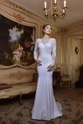 שמלת כלה תחרה וסאטן